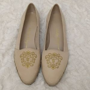 Salvatore Ferragamo cream slip on suede loafer